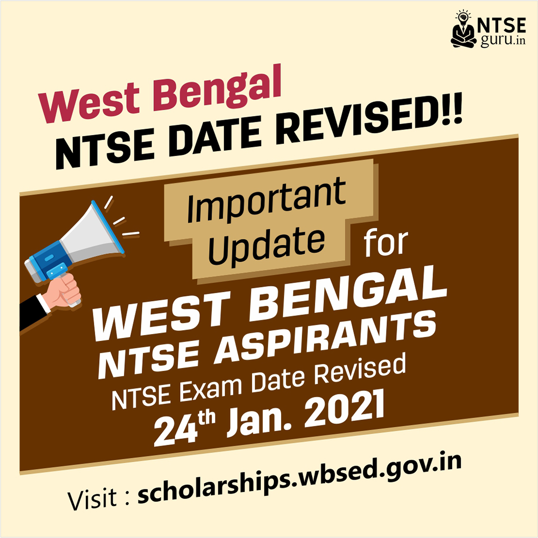 West Bengal NTSE Exam Date