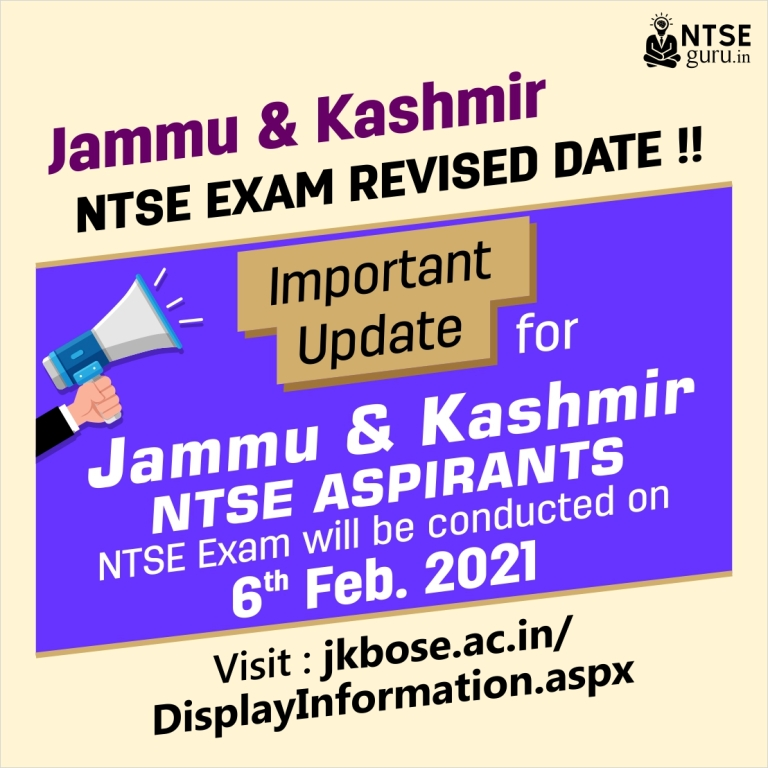 Jammu & Kashmir NTSE Exam Date